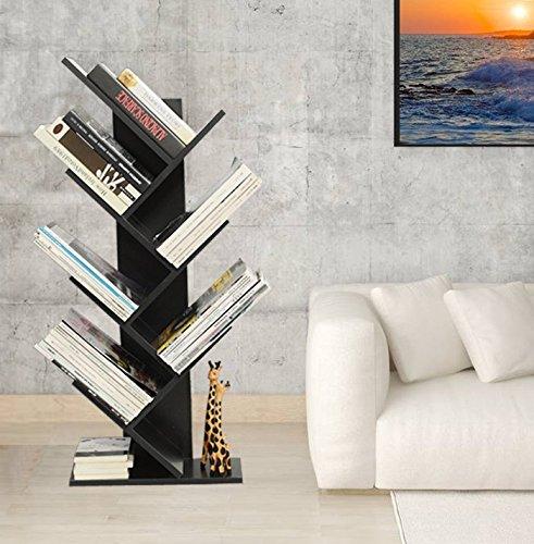 Moderno albero a forma di scaffali da pavimento scaffale semplice soggiorno scaffali mensole personalità camera da letto per bambini ufficio libreria black