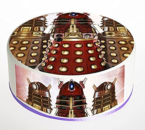 Doctor Who Dalek Cake Topper. Round Cake Topper. Edible Rice Paper Wafer 7.5 inch cake topper with FREE Banner!