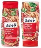 Farb Glanz Set mit Granat Apfel Duft für coloriertes und getöntes Haar - Bestehend aus Shampoo 300ml und Spülung 300ml - Vegan und Silikonfrei