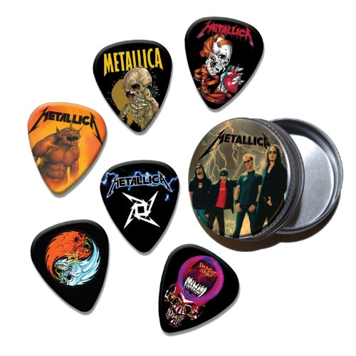 Metallica Set of 6 Loose Chitarra Picks Plettri in Tin ( Collection D )