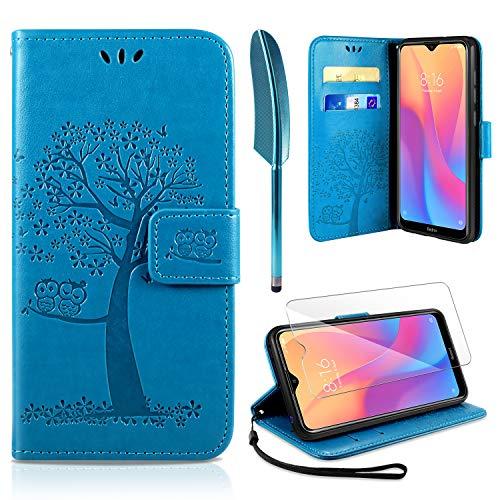 Capa AROYI Película Protetora para Xiaomi Redmi 8A +, Redmi 8A Suporte Elegante Dobrável Fino PU Slot de Tampa Magnética Flip para cartões de proteção para Xiaomi Redmi 8A - Azul