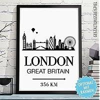 LONDON - GREAT BRITAIN - Kunstdruck mit Skyline, individueller Entfernung + Wunschtext - Rahmen optional - personalisiertes Wand-Bild - originelles Geschenk Geburtstag Jahrestag Hochzeitstag