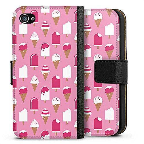 Apple iPhone X Silikon Hülle Case Schutzhülle Eis Sommer Eiscreme Sideflip Tasche schwarz
