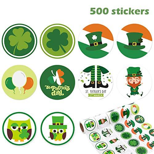 t. Patrick's Day Roll Aufkleber Shamrock Roll Leprechaun irische Selbstklebende Klebeetikett für St. Patrick's Day Party Treat Tasche Dekoration, 5 Rollen ()