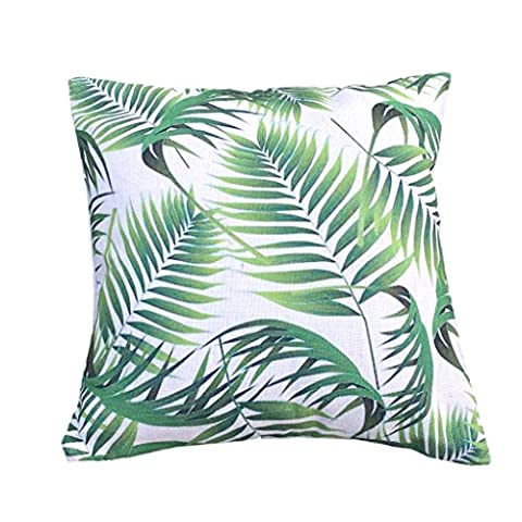 Clara Indoor Outdoor Garden Scatter Cushion Covers Tropical Palm Leaf Water Resistant Jungle Rainforest Decorative Linen (Fern