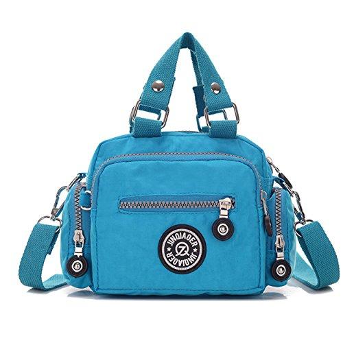 Tiny Chou Mini Farbe wasserabweisend Nylon Handtasche Cross Body Schultertasche für Frauen & Mädchen Himmelblau