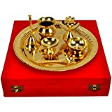 """AC ANAND CRAFTS Gold Plated Steel Pooja Thali 11.5"""" Diameter with Brass Bell"""
