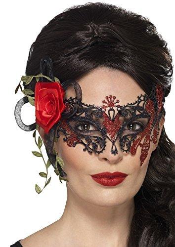 Maskenball Kostüm Tot - Fancy Me Damen Deluxe Metall filigran Glitzer Rot & schwarz mit Rosendetail Halloween MASKENBALL Tag der Toten Kostüm Augenmaske