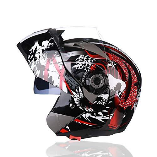 Sanqing Casco Moto, Casco modulare Integrale Flip up Dual Visor Parasole/Anti-Fog, Pittura per personalità Dirt Bike Quattro Stagioni Casco da Moto,Red,M