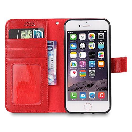 iPhone 7 Plus Coque , L2W de la peau Huile de cuir, Hard Shell PC + Premium High-End réel de vachette couverture globale + Affichage réglable Stand pour iPhone 7 Plus (Noir) rouge