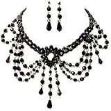 New Black Bead Goth Prom Vamp Dress Choker Necklace Earrings Jewellery Set