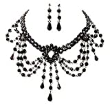 Ladies Black Choker Necklace Earrings Set Dress Jewellery Set for Women