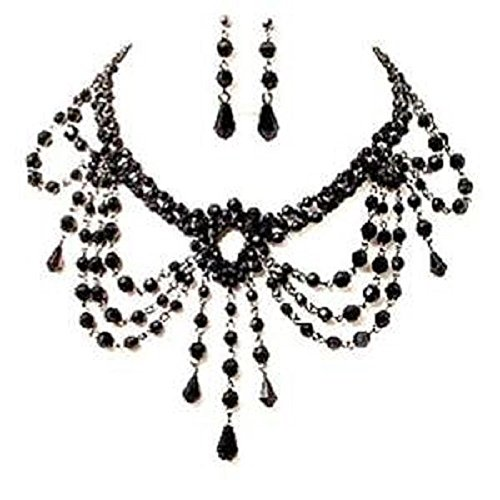 Black Bead Choker Necklace Earrings Set on Silver Tone Chain Gothic Dress Burlesque Collar Jewelry for Women Girls UK