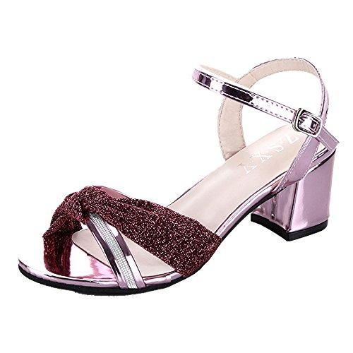 Hunpta Frauen Mode Sommer Mid Heel Flip Flop Sandalen Slipper Böhmen Schuhe Rosa
