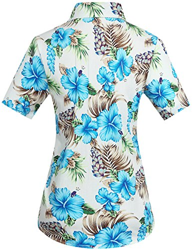 SSLR Damen Button Down Freizeit Kurzarm Hawaii Aloha Blusen Blau Hibiscus