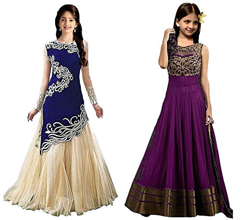 Market Magic World Girl's Blue & Purple Velvet, Net Semi Stitched Combo Pack lehenga Choli, Salwar Suit, Gown (Kids Wear_Free Size_8-12 Year age)  available at amazon for Rs.799