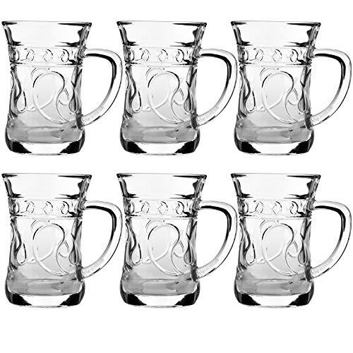My-goodbuy24 Hochwertige Türkische Teegläser aus Kristallglas - 150ml - 6-teiliges Set - 9,5 x 9 x 6 cm - geliefert in Edler Geschenkbox - Orientalisches Teeglas - mit Henkel (Tee-set Arabische)