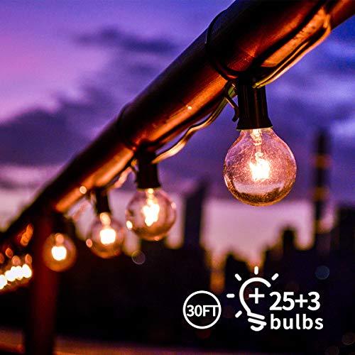 Lichterkette Außen Qomolo Lichterkette Glühbirnen Aussen G40 28er Birnen Garten Beleuchtung für Innen und Draußen mit Ersatzbirnen 9.5 Meter Warmweiß [Energieklasse A+] -