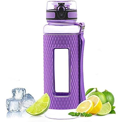 MAIGG Miglior Bottiglia infusore frutta senza BPA, 17oz & 32oz, Sport Yoga bottiglia per bere, Leak Proof, ideale per escursionismo e Outdoors–Borraccia Tritan con rivestimento in silicone, flusso d' acqua veloce, flip top, si apre con 1-Click–riutilizzabile con coperchio a tenuta stagna, Purple, 1000ml-32oz - Mais Acqua Sciroppo