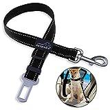 Dog Seat Belt, PETBABA Reflective Nylon Adjustable Automobile Safe Seatbelt Belt Extender Lead for Dogs Black