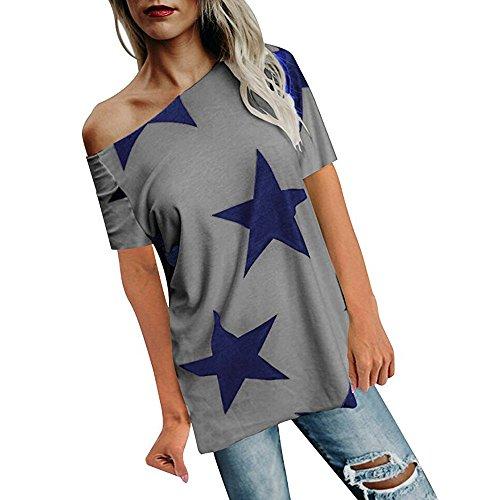 ESAILQ Frauen Mädchen Strapless Star Sweatshirt Langarm Crop Jumper Pullover Tops (L, Grau-1)