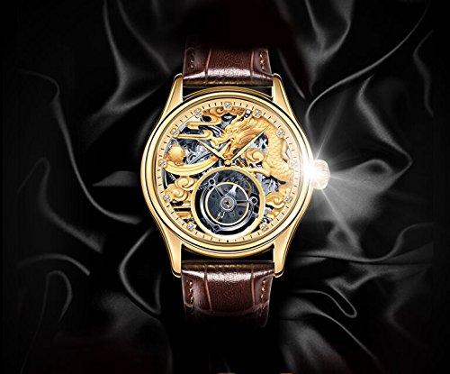 BOS Men's Tourbillon Mechanical Luxury Silver Tone Dragon Skeleton Private Customization Watch (Color 2 – Silver)