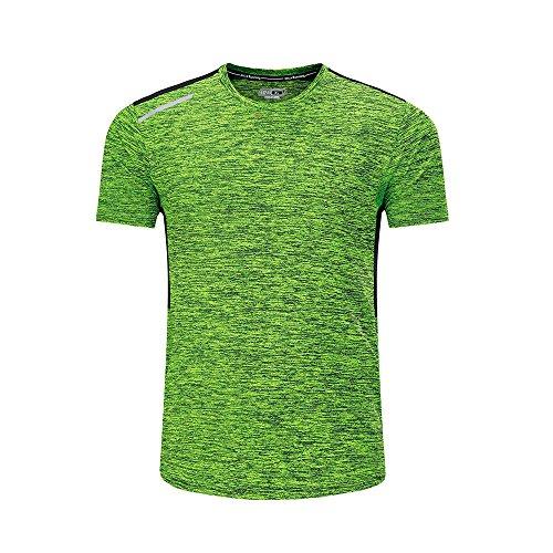 Barbok Herren T-Shirts Sommer Atmungsaktiv Solide Running Top Rundhalsausschnitt Tee für freizeitsports, Training, Fitness, Gym und Outdoor Sport XL Style3-Green (Stecker Solide Kurze)
