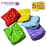 Bembika Baby Pocket Cloth Diapers Reusable Cloth Diapers Washable Adjustable Cloth Diapers One Size Adjustable Washable Reusable (5 Pack) (0-2 Years)
