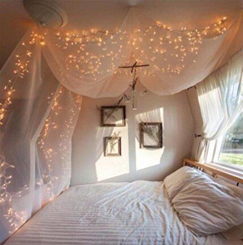 ANKOUJA Lichterkette LED 100er Innen warmweiss fuer Zimmer Bett Hochzeit Party Schlafzimmer Weihnachten Tannenbaum 8 Funktiontyp-Memory-Verlaengerbar