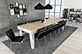 Home Innovation - Table Console Extensible rectangulaire avec rallonges, Nordic KL jusqu'à 300 cm, Style Scandinave, pour Salle à Manger et séjour, Blanc Mat - Chêne Brossé. jusqu´à 14 Personnes