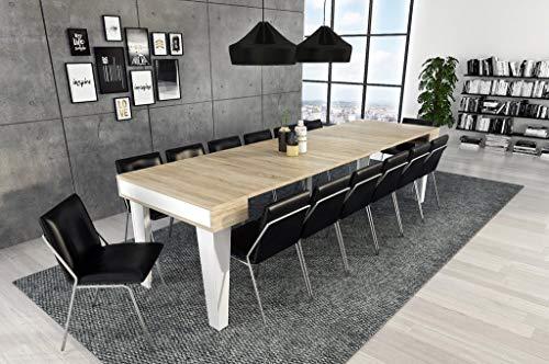 Home Innovation- Nordische KL- Ausziehbarer Konsole, Esszimmertisch und Wohnzimmertisch, rechteckig, Skandinavischer Stil, bis 300 cm, Oberfläche Mattweiß/Gebürstete Eiche. Bis zu 14 Sitzplätze. (Foyer-tisch-set)