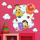 Sticker mural multicolore - Pour chambre d'enfant - Motifs: « ABC », « 123 », enfants, avions, montgolfière