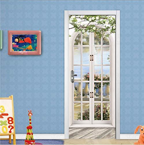 PANDABOOM 3D Tür Aufkleber Europäischen Stil Bogen Wandbild Kunst Tapete Poster Tür Aufkleber PVC Selbstklebende Removable Home Tür Aufkleber 90X200Cm