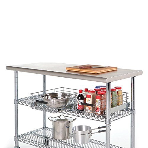 Küchenarbeitstisch: Seville Classics SHE18308B Professioneller Arbeitstisch mit Arbeitsplatte aus Edelstahl
