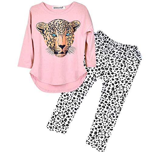 Girl Womens Kostüm Höhle - GJKK 2pcs Bekleidungssets Mädchen Leopard Print Langarmshirt Sweatshirt Tops + Leopard Hosen Outfit Kostüm Pajama Sets Nachtwäsche