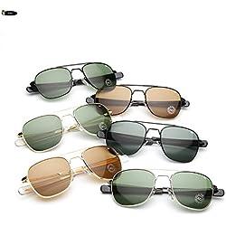 Izusa (TM) hoch Qualität AO PILOT Glas Linse Sonnenbrille US Air Force Herren Marke fahren Sonnenbrille Sonne Brille Brillen de Sol, Black darkgreen