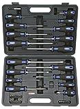 KS Tools 159.0100 ERGOTORQUEplus Schraubendreher- und Bit-Satz, 39-teilig, mit 2-Komponentengriff, verchromt mit brünierter Spitze, inkl. der gängigsten 1/4' Bits, Bithalter und Bit-Schraubendreher, im Kunststoffkoffer