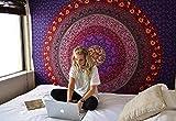 RAJRANG Hippie Mandala Tapestry Wandteppich Bohemian Rosa Einzigartig Baumwolle Wandbehang Tapisserie Blumen Wandtuch