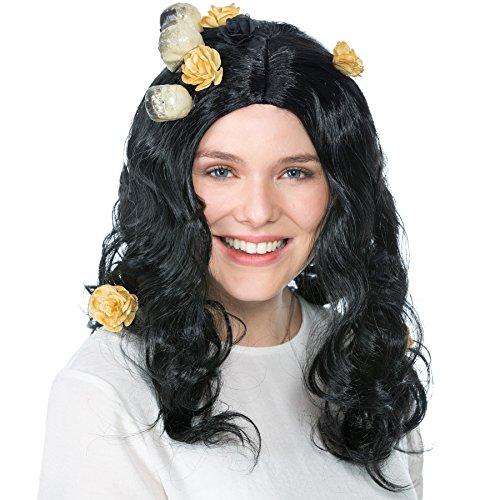 Perücke schwarz mit Totenköpfen und Kunstblumen verziert | 50cm | Halloween Fasching Hexe Teufel Gothic Horror (Hipster Kostüm Ideen)