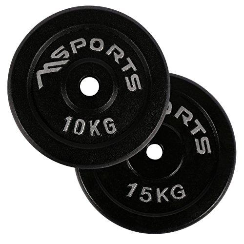 MSPORTS Hantelscheiben Paar Professional aus 100% Gusseisen 5-20 kg Hantel (2 x 10 kg - Schwarz)
