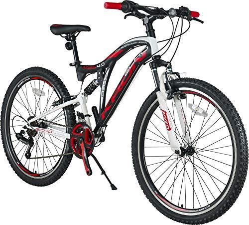 KRON ARES 4.0 Fully Mountainbike 26 Zoll | 21 Gang Shimano Kettenschaltung mit V-Bremse | 16.5 Zoll Rahmen Vollgefedert MTB Erwachsenen- und Jugendfahrrad | Schwarz & Rot