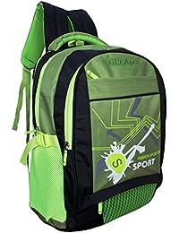 Gleam Fashion Sport School Bag ( Neon Green & Black ) With Rain Cover