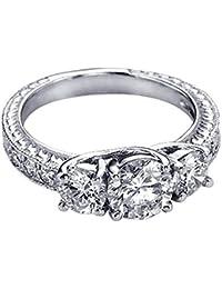 Damen Ring 1.15 Karat 14 Karat Weißgold Rund Diamant Damen 3-Steiner Verlobungsring