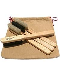 Burgol Rahmenauftragsbürsten-Set 4 teilig zum Auftragen von Schuhpflegemittel + gratis Aufbewahrungsbeutel