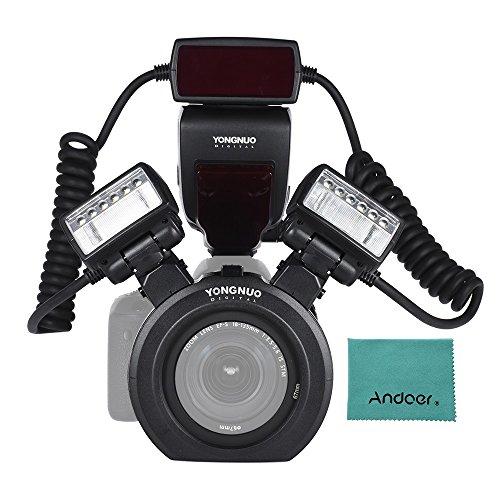 YONGNUO YN24EX E-TTL Macro Blitz Blitzlicht Speedlite 5600K mit 2 Stück Blitzköpfe und 4pcs-Adapterringe für Canon EOS 1DX 5D3 6D 7D 70D 80D Kameras
