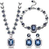 """BEST GIFTS """"Rhine"""" Blue SWAROVSKI ELEMENTS crystal White Gold plated Women Jewellery Set, Bracelet Necklace Earrings. Birthday Valentines Mothers day Christmas Wedding Gift for Wife Mother Daughter"""