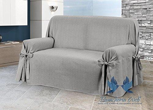 Biancheriaweb copridivano con laccetti disegno lord modello o.b. 3 posti grigio