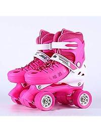 Y-M-H Childrens Adultos niños Chicos niñas 4 Ruedas Ajustables Quad Roller Patines Botas de Rodillos,