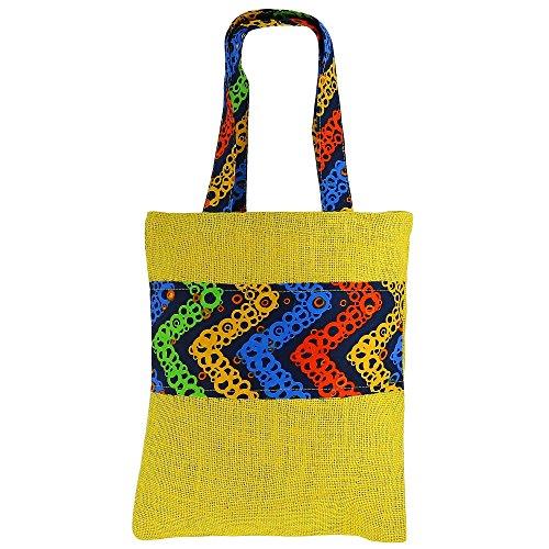 ShalinIndia Polyvalent Mini Sac de shopping, de couleur jute, de fibres naturelles Eco-frienly, non tissé doublure intérieure, Easy Care lavable,