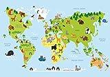 Fototapete Karikatur Tiere Weltkarte Kontinente Ozeane Kinder M 250 x 175 cm - 5 Teile Vlies Tapete Wandtapete - Moderne Vliestapete - Wandbilder - Design Wanddeko - Wand Dekoration wandmotiv24